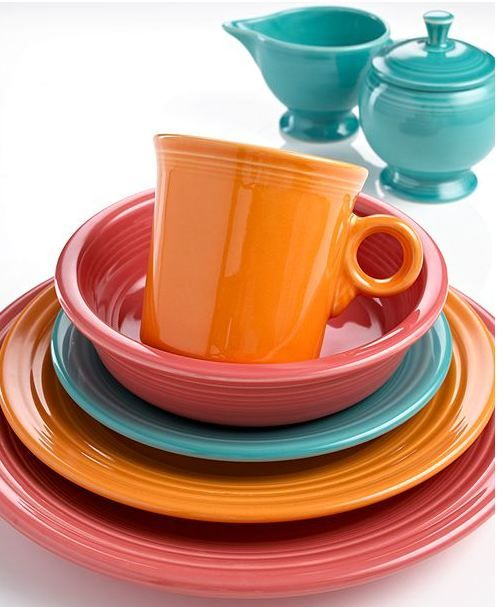 Fiestaware color combo - Tangerine, Turquoise, Persimmon
