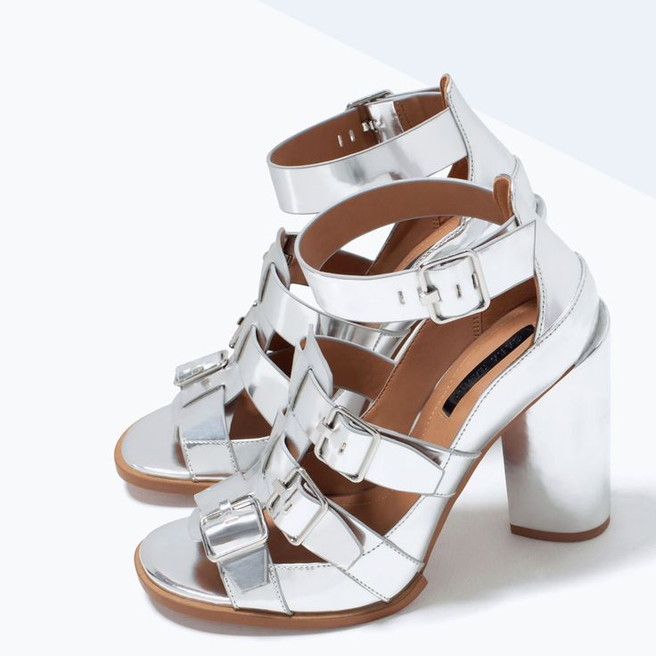 Image 5 of BUCKLED MIRROR SANDALS WITH HEEL from Zara