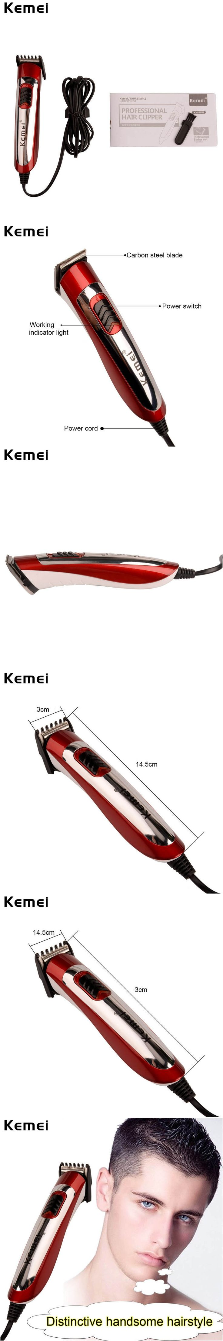 Kemei Corded Electric Hair Trimmer Hair Clipper Professional haircut titanium blade hairclipper hair cutting machine for men P00