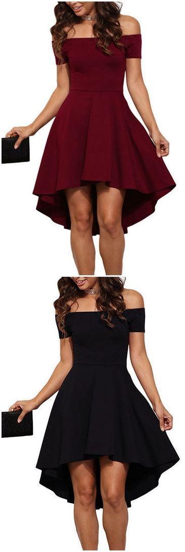 Burgundy Sexy Off Shoulder Irregular Hem Dress US$15.95 #homecomingdresses