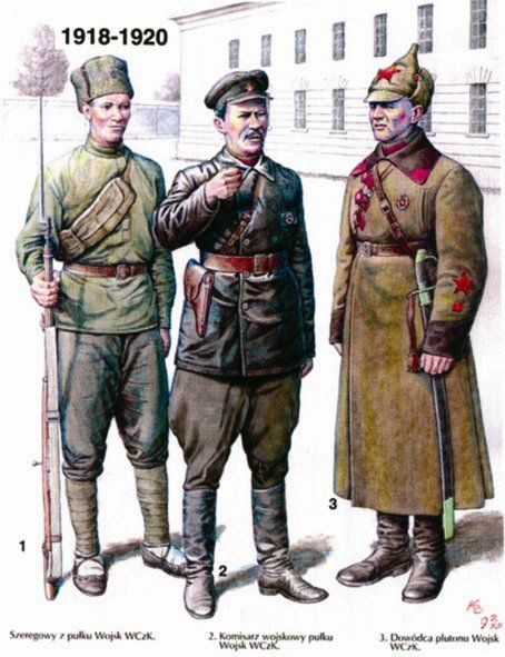 Russian Civil War era Red Army uniforms: Left - Enlisted soldiers' summer field uniform. Center - Commissars' service uniform. Right - Winter uniform with officers' insignia.