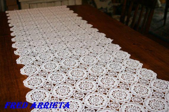 camino de mesa tejido a crochet con motivos octogonales en color Car ...