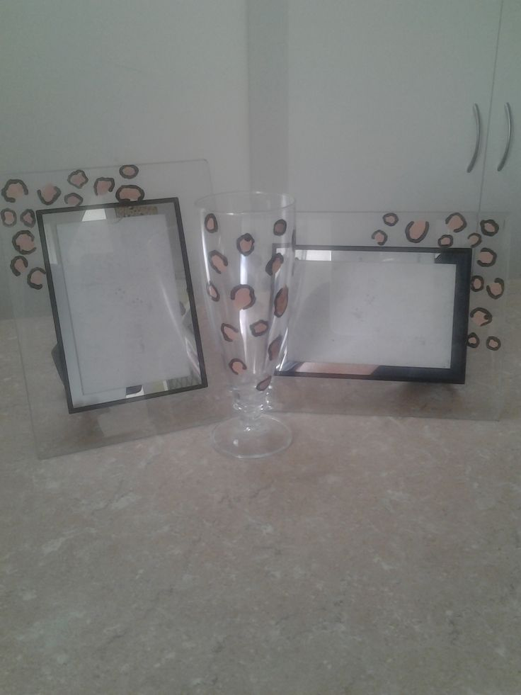 Secondhand glass items painted with tan and black nail polish xxx