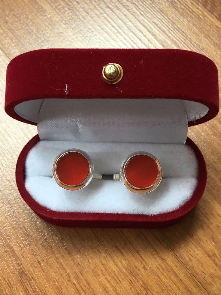 Turkish Handmade 925 Sterling Silver Round Red Onyx Men's Cufflinks Alltobuy | eBay