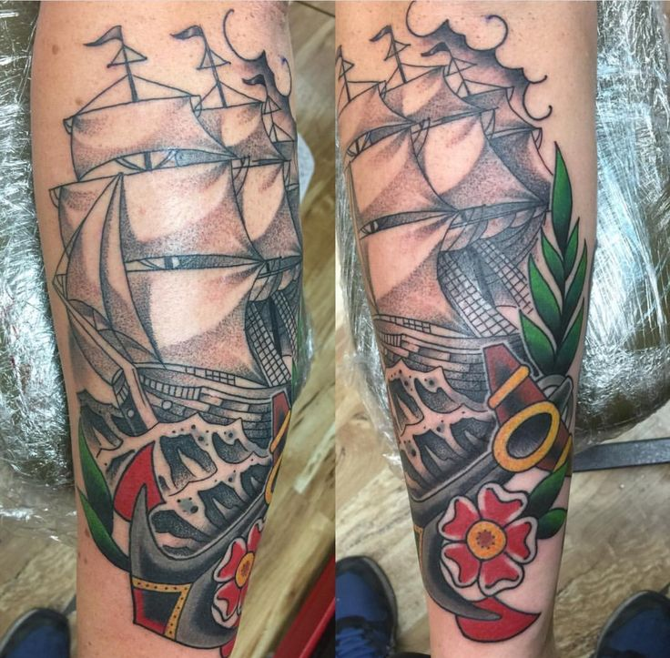 Clipper Ship done by Josh Avery out of Loyalty Tattoos UT!
