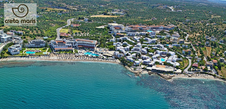 Creta Maris Beach Resort in Crete, just 24 km from the Heraklion International Airport is close to Hersonissos, a long sweeping bay of sandy beach and crystal clear water.  http://www.maris.gr/creta.aspx