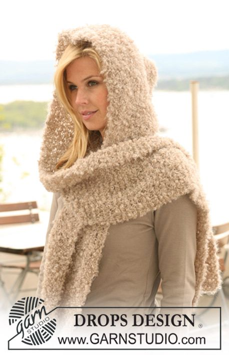"""DROPS hooded scarf in garter st in """"Puddel"""". ~ DROPS Design"""