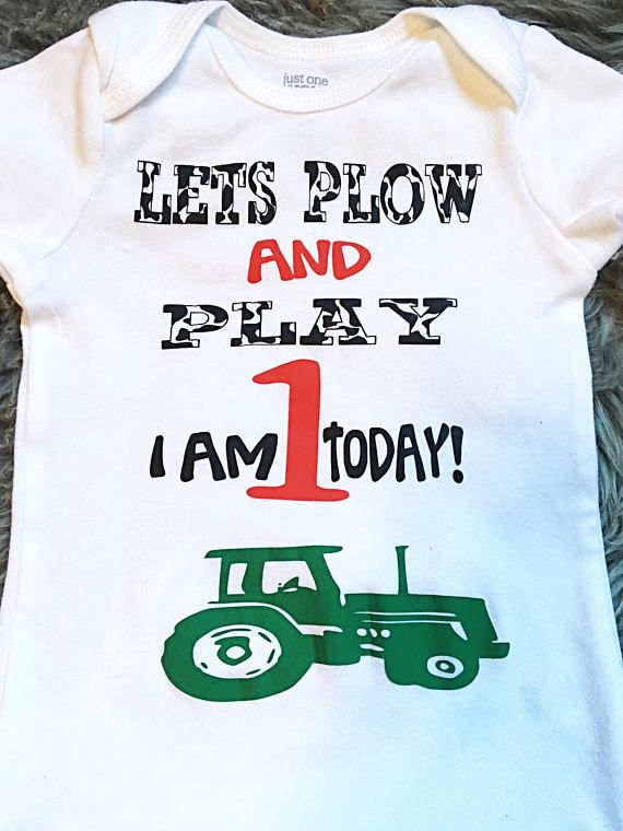 Zoeys Attic First Birthday Shirt Lets Plow and Play Farm Theme Raglan Shirt