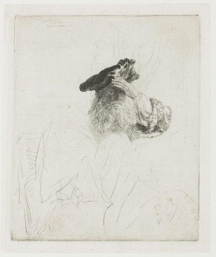 Oude man zijn ogen beschaduwend met zijn hand, Rembrandt Harmensz. van Rijn, 1637 - 1641