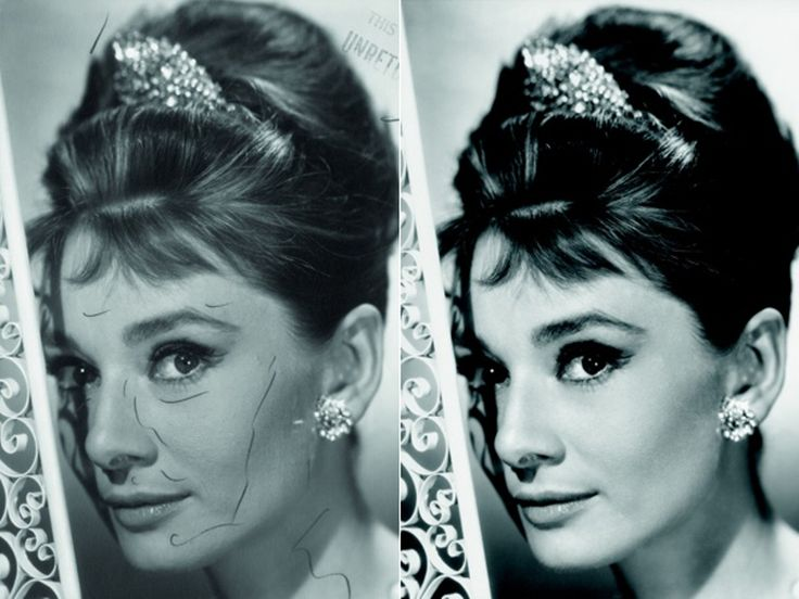 "Audrey Hepburn Airbrushed Photo for ""Breakfast At Tiffany's"" Before Photoshop"