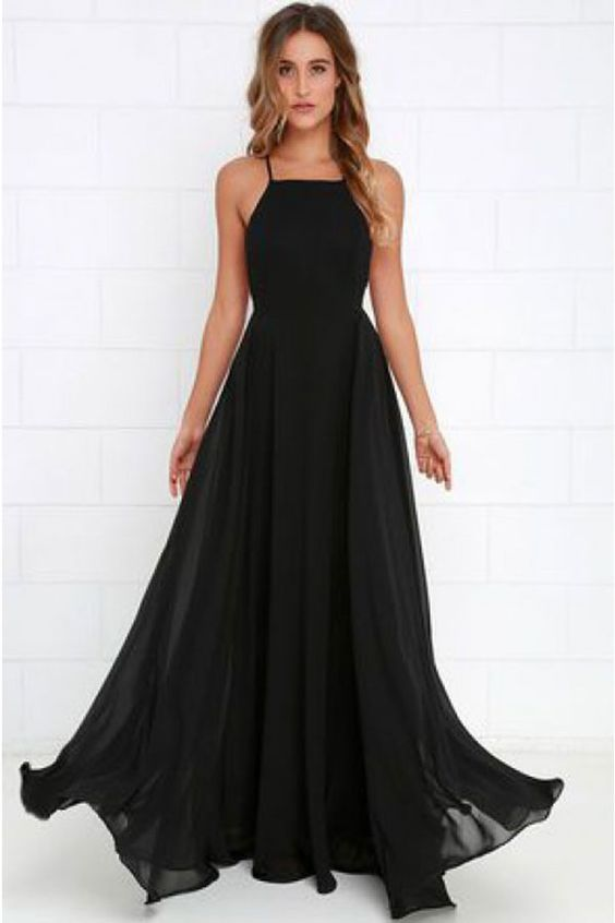 Blackburgundy Chiffon Prom Dresssexy Halter Evening Dress