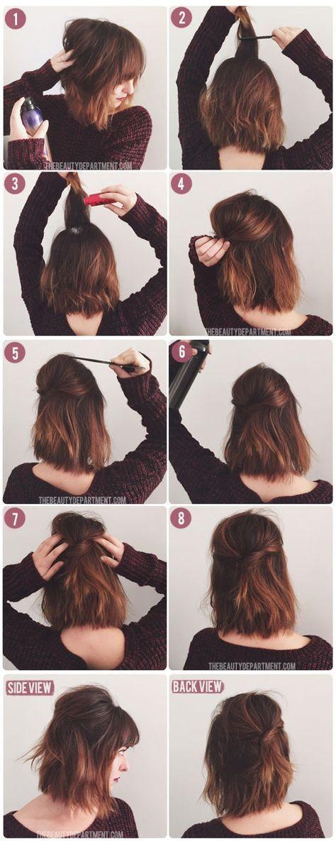 20 Coiffures Pratiques Et Rapides Pour Cheveux Courts Et Mi Longs A L Occasion Du Nouvel An Coiffures Simples Coiffure Facile Cheveux Courts