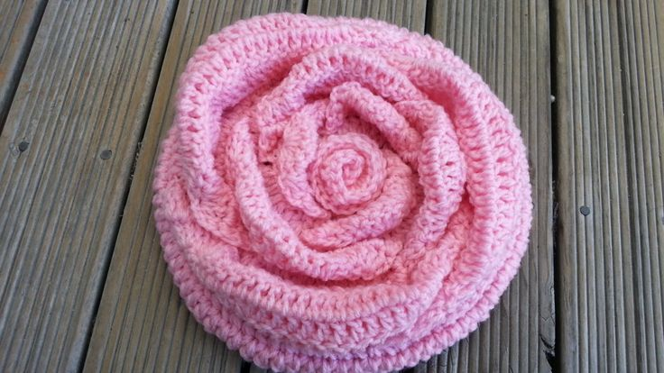Crochet Rose Beret Hat by Rumic1 on Etsy