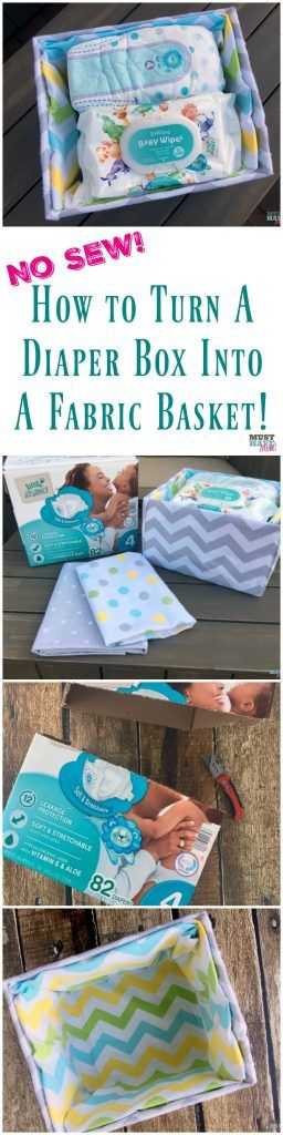 How to turn a cardboard box (like a diaper box) into a fabric covered basket! No sew method of making a fabric lined basket to compliment nursery decor! Make it for free with upcycled supplies!