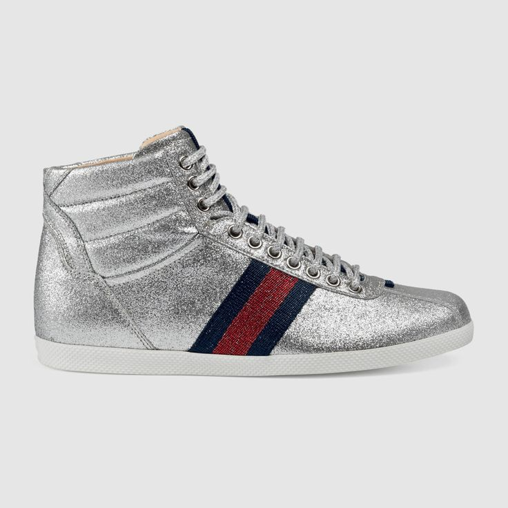 Glitter Web High-Top Sneaker, Gucci sneaker, silver sneakers.
