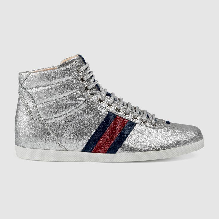 Glitter Web High-Top Sneaker, Gucci sneaker, silver sneakers.
