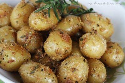 Garlic-Rosemary Roasted Baby potatoes!  Looks yummy!