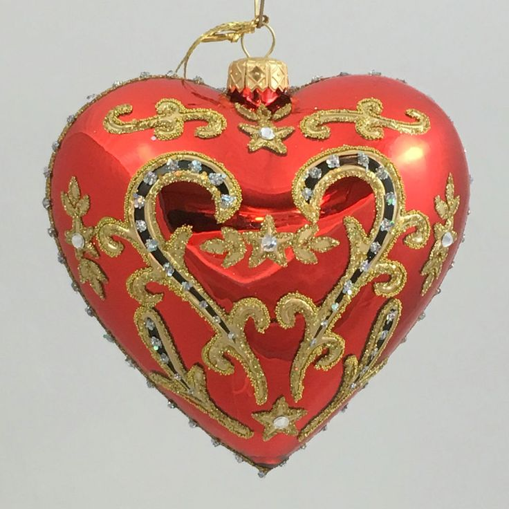 """Valentine's Day HEART RED  4.72"""" glass ornament hand-made in Poland"""
