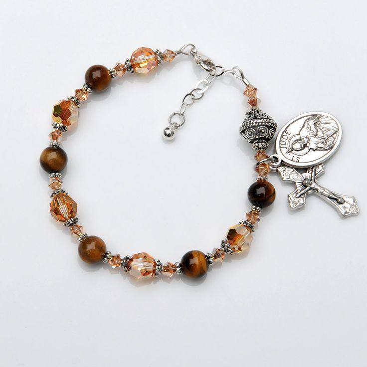 Saint St Jude Tiger Cat's Eye Gemstone Rosary Bracelet, Swarovski Crystal, Bali Bead -Choice of Saint Medal -Godmother Catholic Women's Gift by RosariesOfLove on Etsy