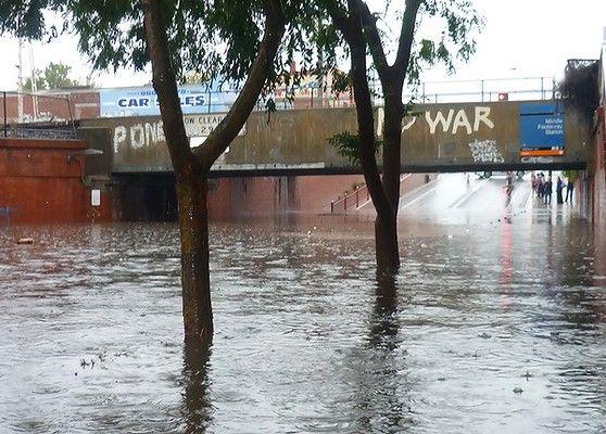 When it rains it floods (here).