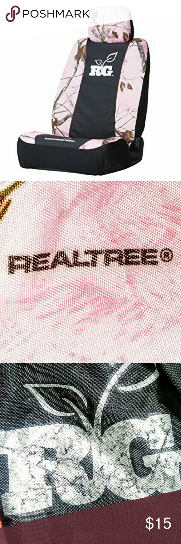 Realtree Universal Pnk/Camo Bucket Seat Cover Realtree RG pink camo universal bucket seat cover. High quality heavy polyester fabric treated to resist water and dirt. Fits most bucket seats with or without headrests. Front, side, rear mesh pockets. Anti slip backing for ideal fit and function. Pre-owned, only sign of wear is faded RG emblem, as shown in picture. Otherwise, no rips, tears, or stains. She's a trooper :) Realtree Other