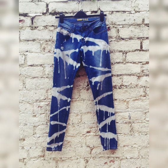 Skinny Jeans High Waisted Blue Jeans Grunge Clothing by AbiDashery