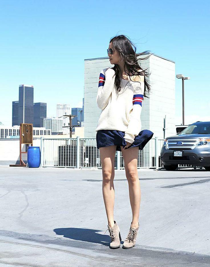 Shop this look on Kaleidoscope (sweater, skirt, bootie)  http://kalei.do/Wm0RPZG1qKPppwNi