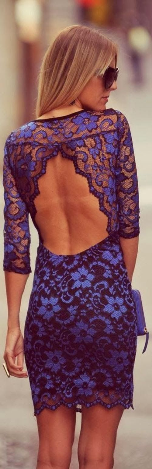 Attractive, Navy Blue, Backless, Lace Embroidered, Amazing Dress with Clutch Bag and Glasses