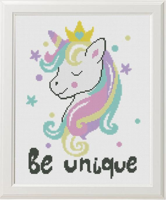 Unicorn Cross Stitch Pattern Baby Be Unique Instant Download Pdf