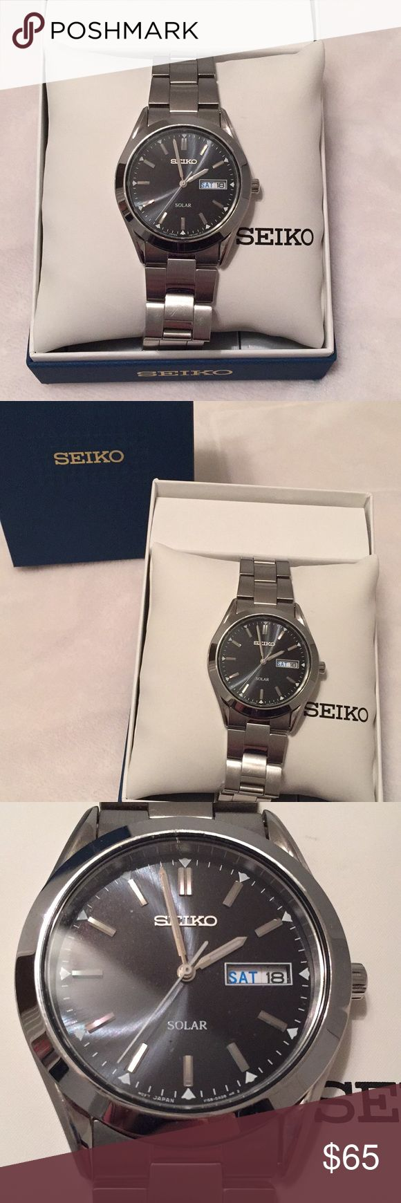 Men's Seiko Solar Watch Classic timepiece that requires no battery change. Watch operates on solar. Original links maintained and box kept for storage. Midnight blue face, water resistant, stainless steal. Seiko Accessories Watches