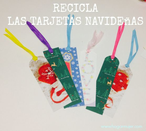 Diy recicla las tarjetas navide as recycled bookmarks - Manualidades navidenas reciclaje ...