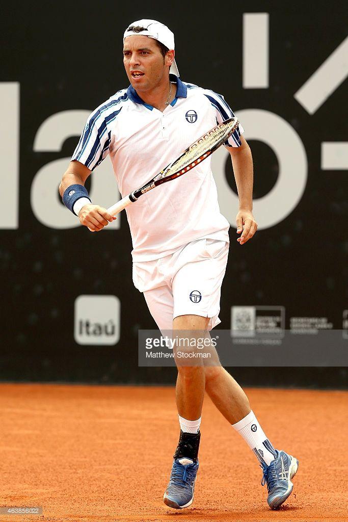 Albert Montanes of Spain plays Pablo Cuevas of Uraguay during the Rio Open at the Jockey Club...