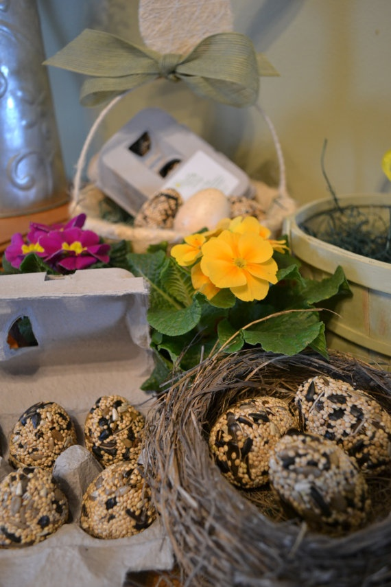 Birdseed eggs as offerings for nature spirits during a Spring Equinox ritual.