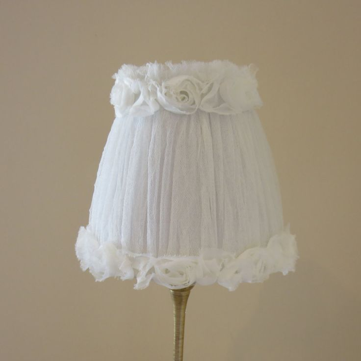 SHABBY CHIC LAMPSHADE Rosette Trim On Tulle Fabric Netting . White Tulle And Rosettes . Beautiful Small Lamp Shade . Use One or A Pair by CountryUrbanFluff on Etsy https://www.etsy.com/listing/245576900/shabby-chic-lampshade-rosette-trim-on