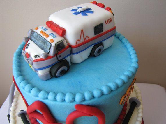 Fondant Ambulance Cake Topper by CakeDevils on Etsy