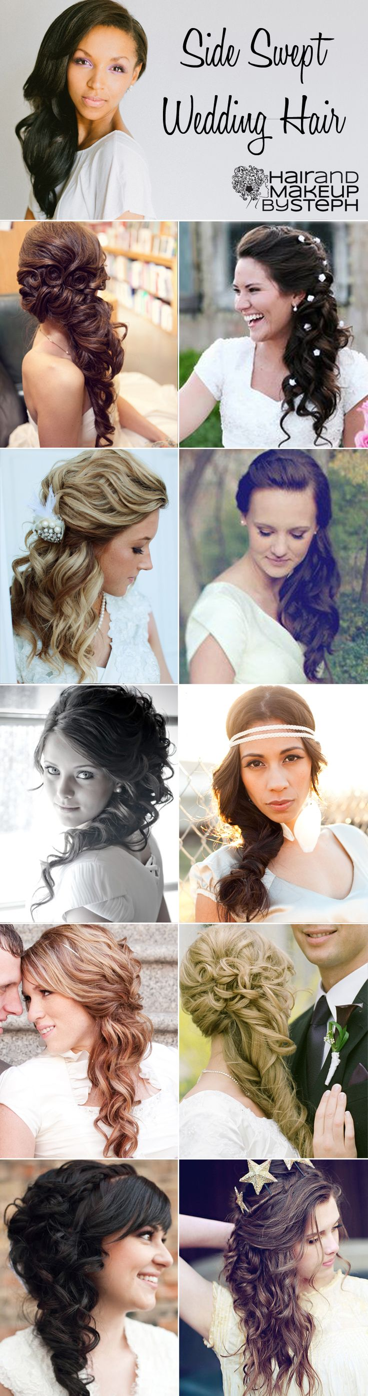Side swept wedding hair ideas via blog.hairandmakeupbysteph.com