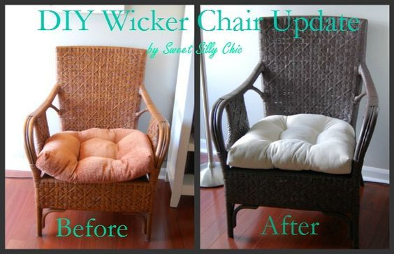 """cheap update for my dying rattan settee - new cushions plus Valspar """"brown velvet"""" spray paint to match rockers on porch. // sweet silly chic blog"""