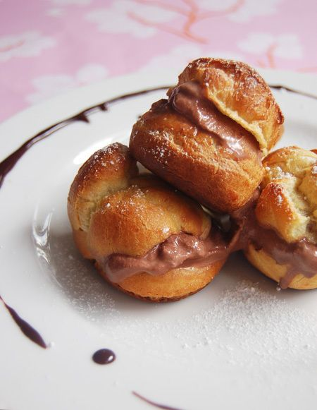 Profiteroles with Dark Chocolate Orange Ice Cream
