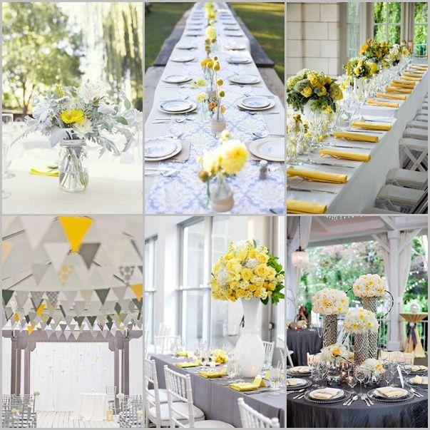 Seis decoraciones de boda en amarillo y gris imperdibles! Mas ideas en nuestro Board: Decoración de Bodas en Amarillo