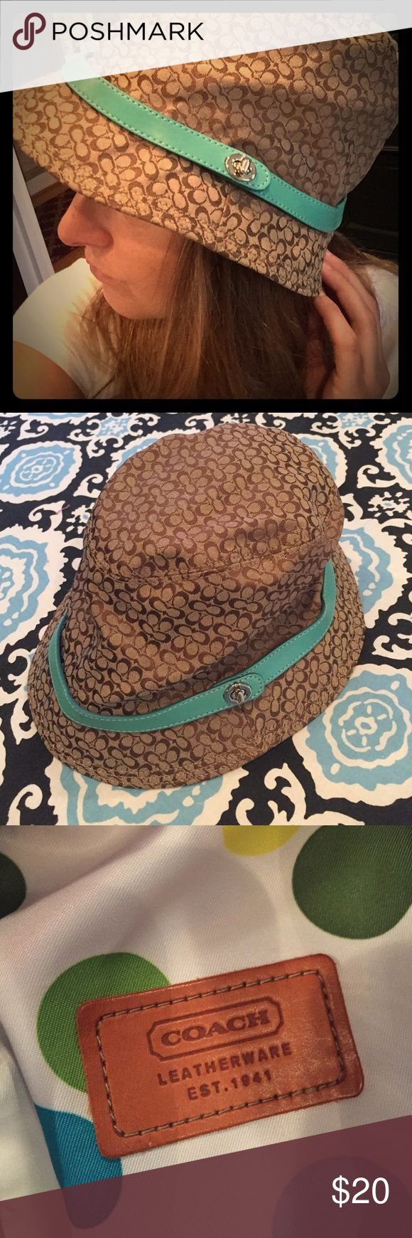 Coach Hat with Turquoise Band Coach Hat with Turquoise Band Coach Accessories Hats