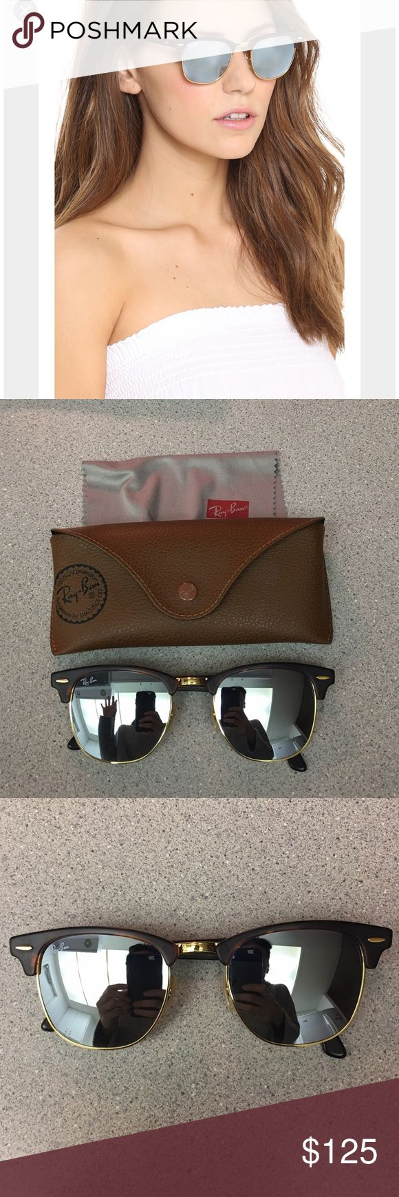 Ray-ban Clubmaster Silver Mirrored Sunglasses Classic Clubmaster shape by Ray-ban with a traditional mirrored lenses. Not tinted, silver mirror, so it looks a little more timeless than trendy. Purchased at Nordstrom. Worn but no visible scratches on lenses. With my sunglasses if you are a good buyer I am open to immediate returns if you find a scratch i didn't see want you to be happy. Easy fun everyday glasses. Ray-Ban Accessories Sunglasses