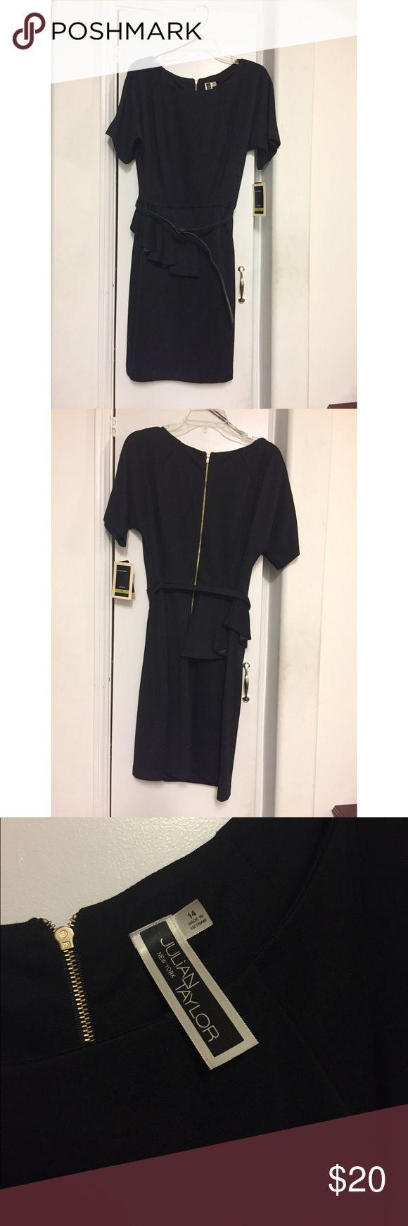 Julian Taylor New York Black Peplum Dress Never been worn. True to size. Adjustable belt. Mid length LBD. Julian Taylor Dresses Midi