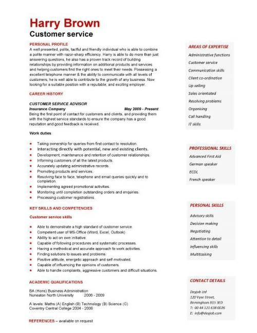 free customer service resumes | Customer Service CV