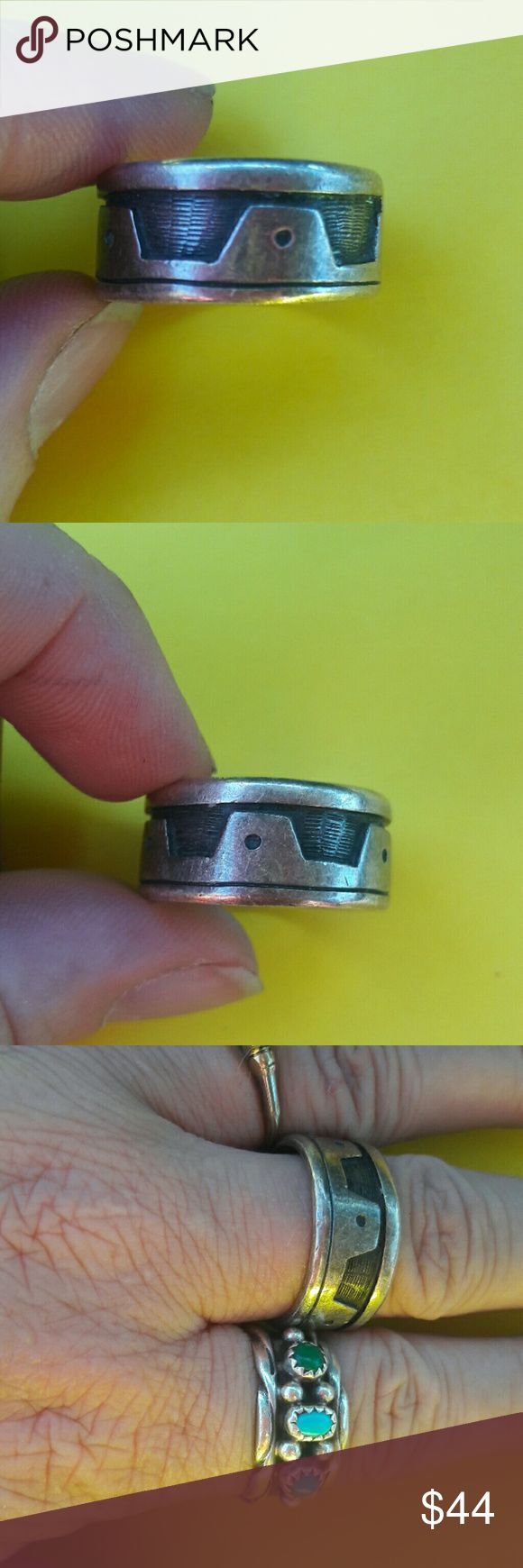 sterling silver 9.5 ring 925 Southwestern unisex Quality craftsmanship, simple design. Great definition. Marked inside sterling, and has makers name. Fits about a 9.5. Light scratches, otherwise perfect! Please ask any questions. Thank you! Vintage Accessories Jewelry
