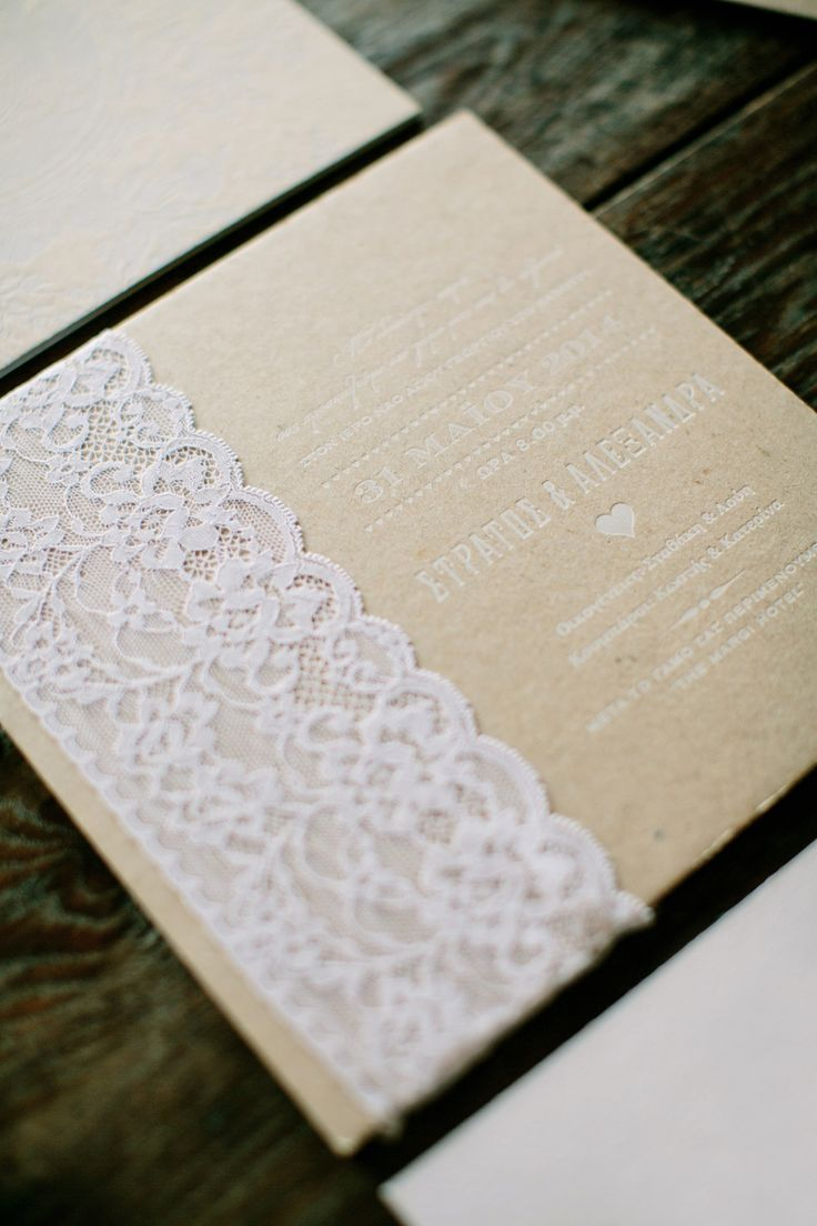 Vintage chic invitation with lace by Atelier Invitations