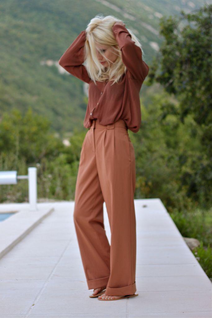 silk blouse & wide-leg pants