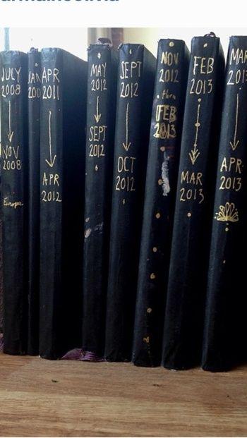 年代別に整然と並べられたモレスキン。 黒の表紙だと、本棚にずらりと並べてもおしゃれです。