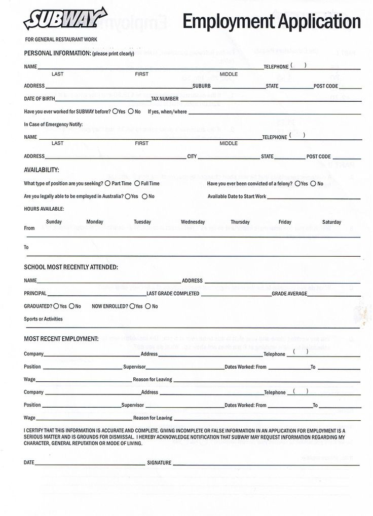 Employment Application. General Application For Employment (02825 ...