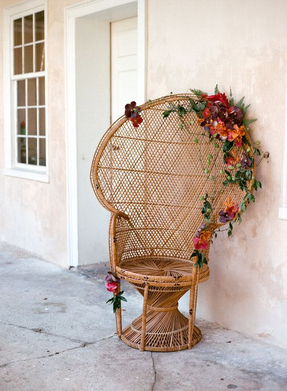 a lovely and colorful way to embellish any party seating situation - wicker chair or rustic bench