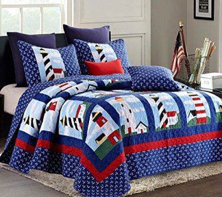 I love these cute, trendy, unique and beautiful bedroom sets. They make any room really stand out and give great bedroom decoration ideas and inspiration.    Nautical Lighthouse 3pc King Size Quilt Set (105